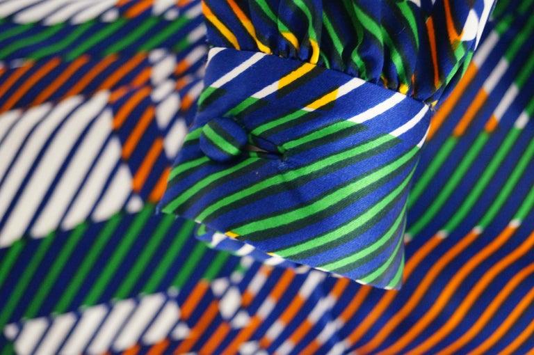 1970s Oscar de la Renta Green Plaid Satin & Knit Dress & Jacket Ensemble For Sale 5