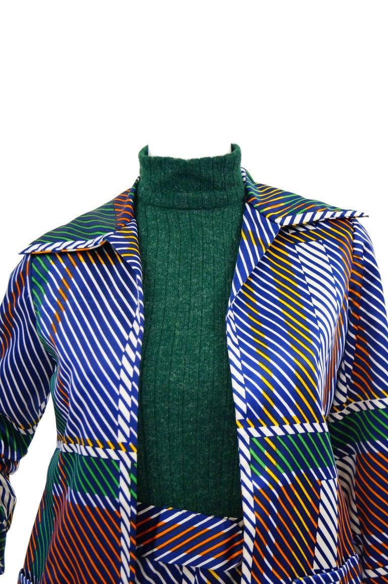 1970s Oscar de la Renta Green Plaid Satin & Knit Dress & Jacket Ensemble For Sale 6