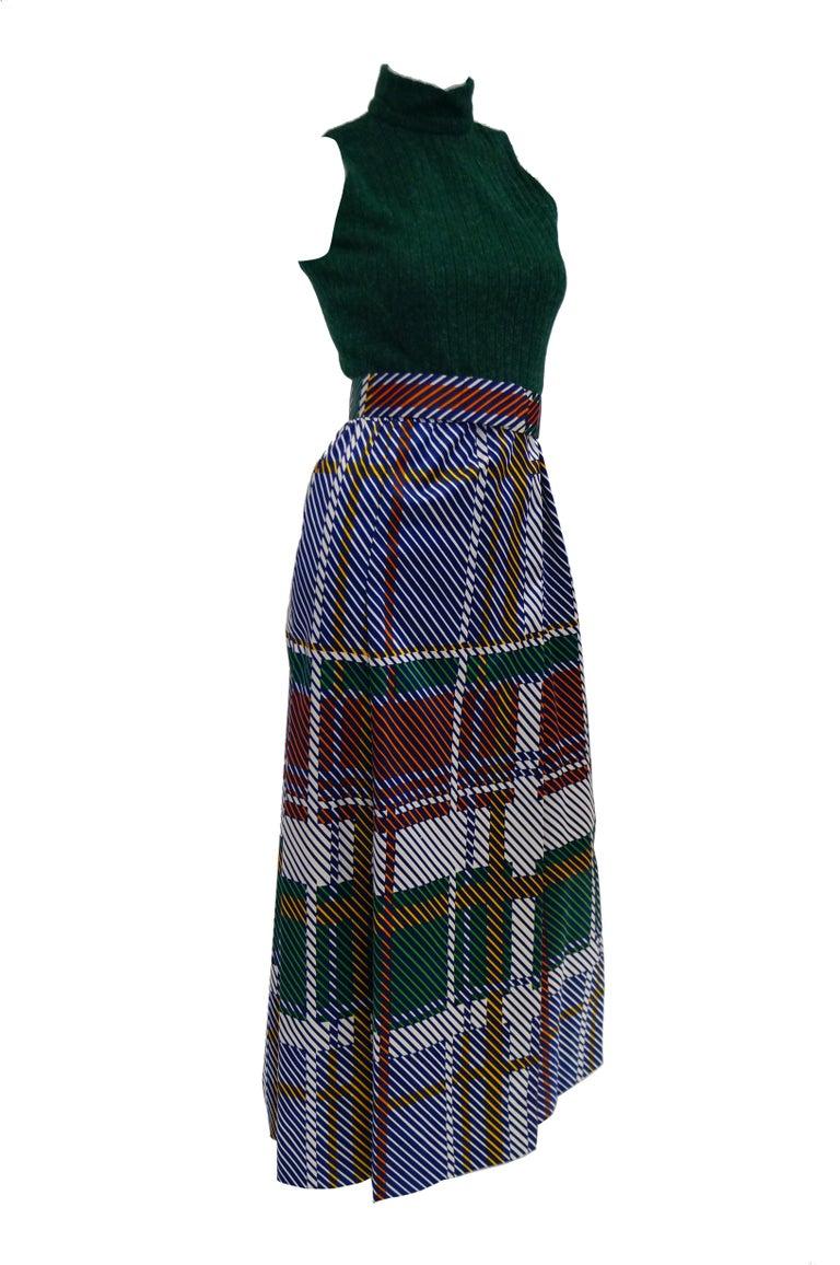 Black 1970s Oscar de la Renta Green Plaid Satin & Knit Dress & Jacket Ensemble For Sale