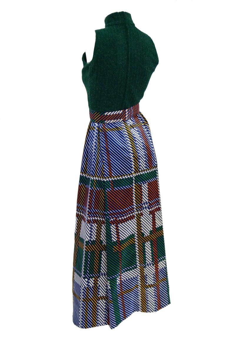 1970s Oscar de la Renta Green Plaid Satin & Knit Dress & Jacket Ensemble For Sale 1
