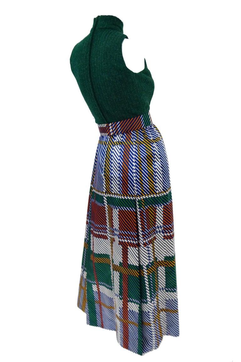 1970s Oscar de la Renta Green Plaid Satin & Knit Dress & Jacket Ensemble For Sale 2