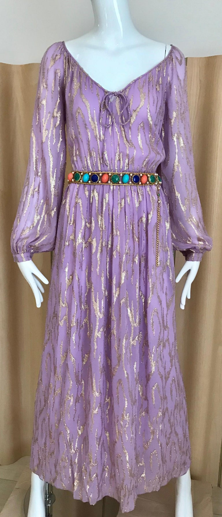 Women's 1970s Oscar De La Renta Lavender Purple Crepe Silk Dress For Sale