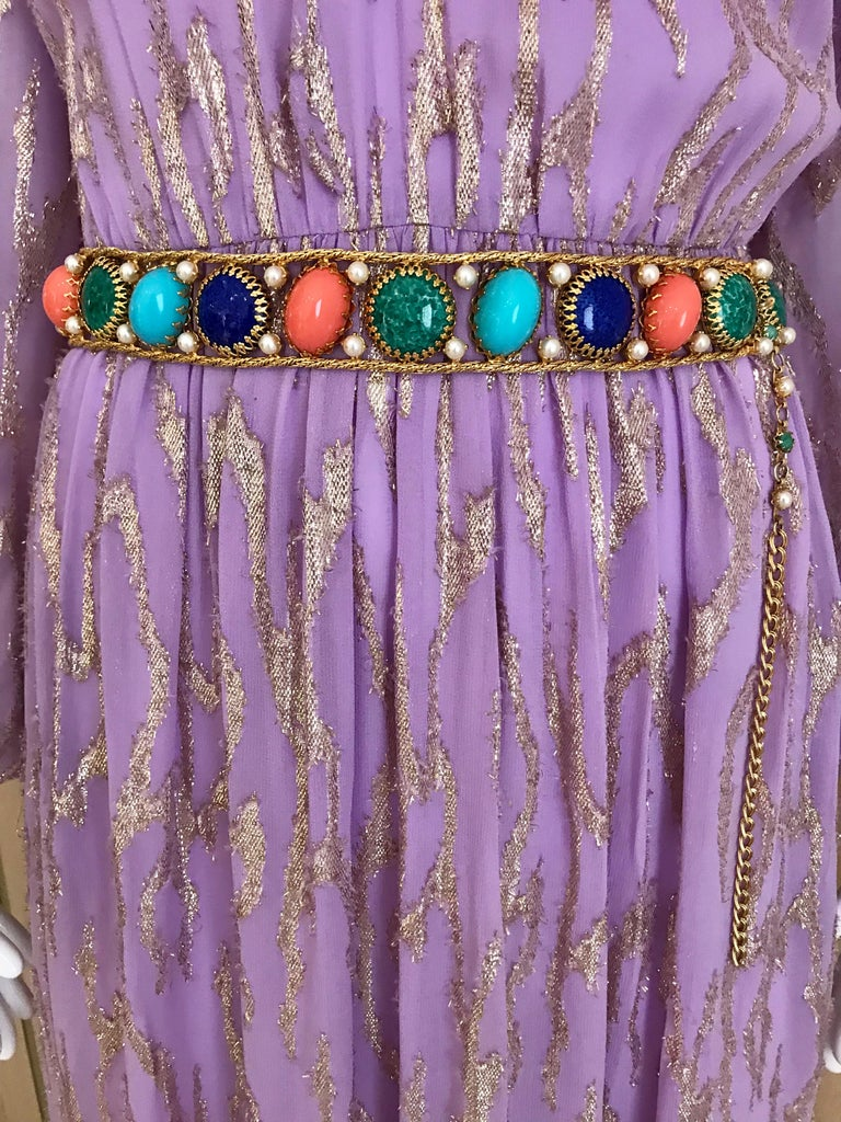1970s Oscar De La Renta Lavender Purple Crepe Silk Dress For Sale 1