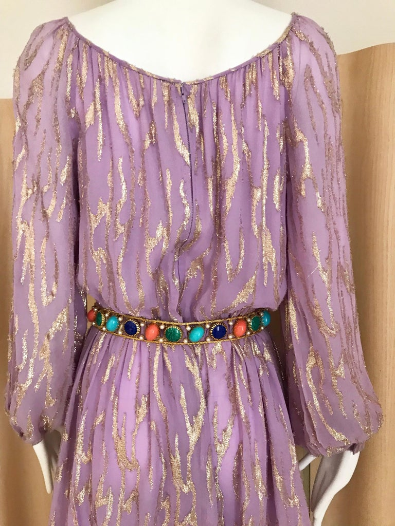 1970s Oscar De La Renta Lavender Purple Crepe Silk Dress For Sale 2