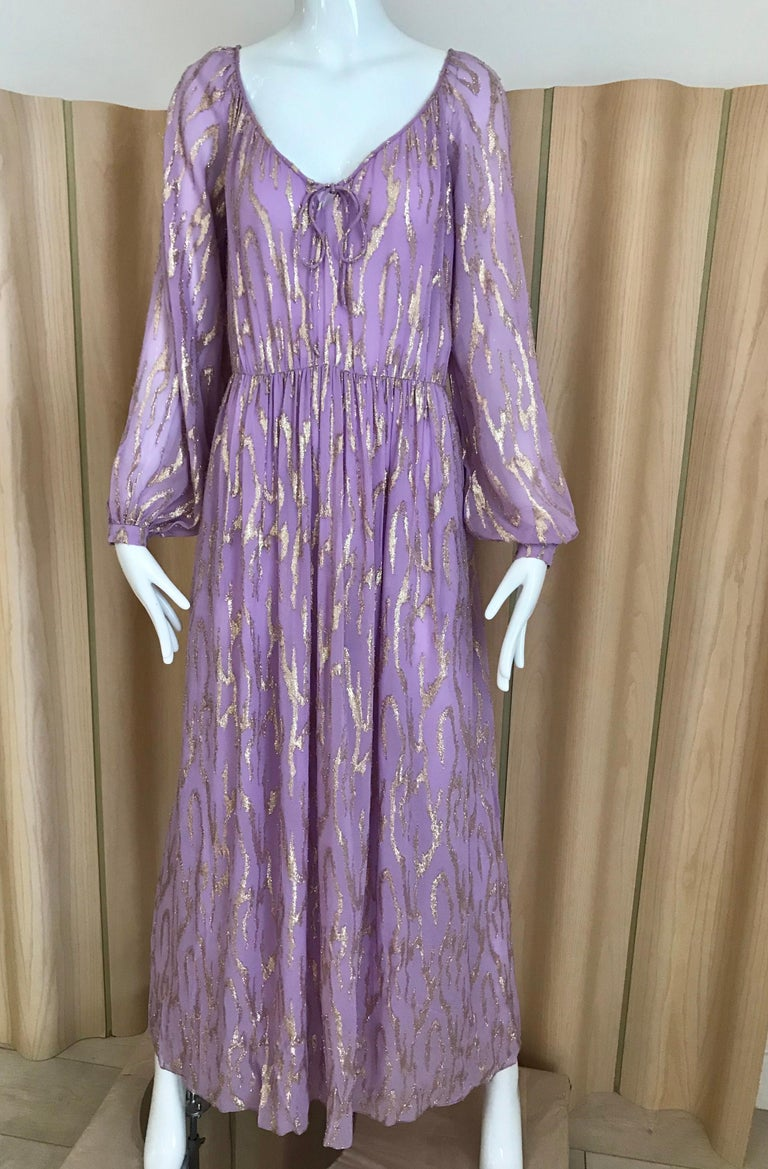 1970s Oscar De La Renta Lavender Purple Crepe Silk Dress For Sale 3