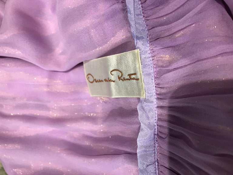1970s Oscar De La Renta Lavender Purple Crepe Silk Dress For Sale 4