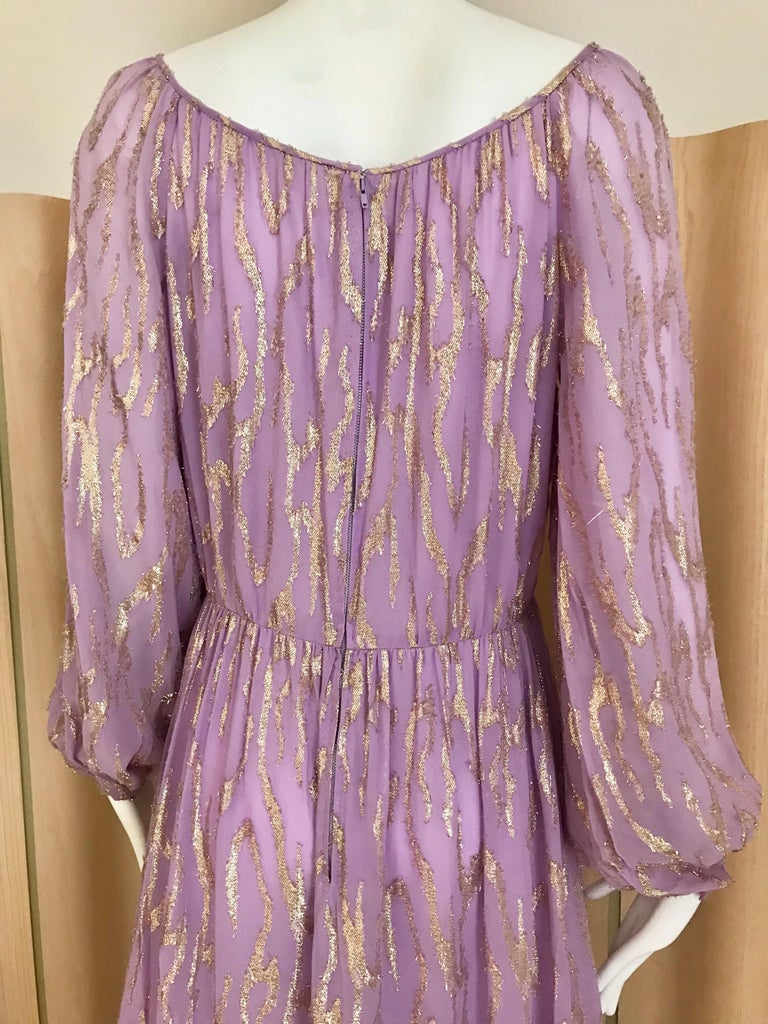 1970s Oscar De La Renta Lavender Purple Crepe Silk Dress For Sale 5