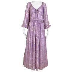 1970s Oscar De La Renta Lavender Purple Crepe Silk Dress