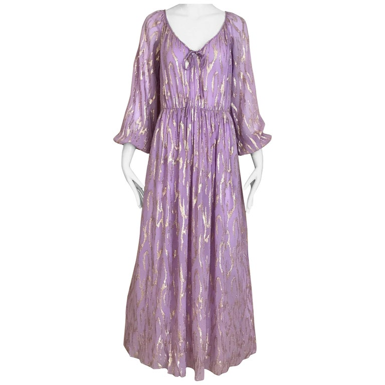 1970s Oscar De La Renta Lavender Purple Crepe Silk Dress For Sale