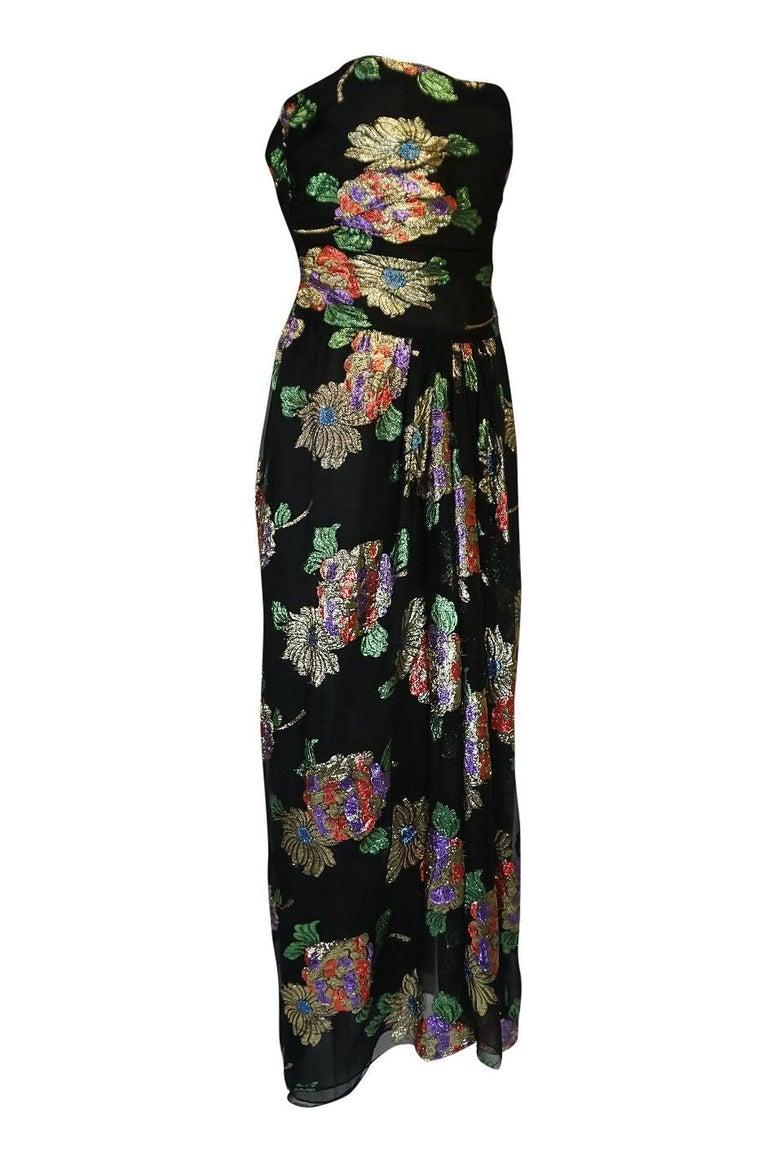 Black 1970s Oscar De La Renta Silk & Vivid Metallic Strapless Dress For Sale