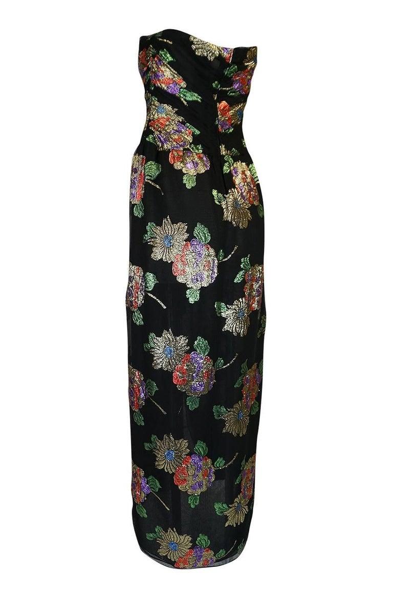 Women's 1970s Oscar De La Renta Silk & Vivid Metallic Strapless Dress For Sale
