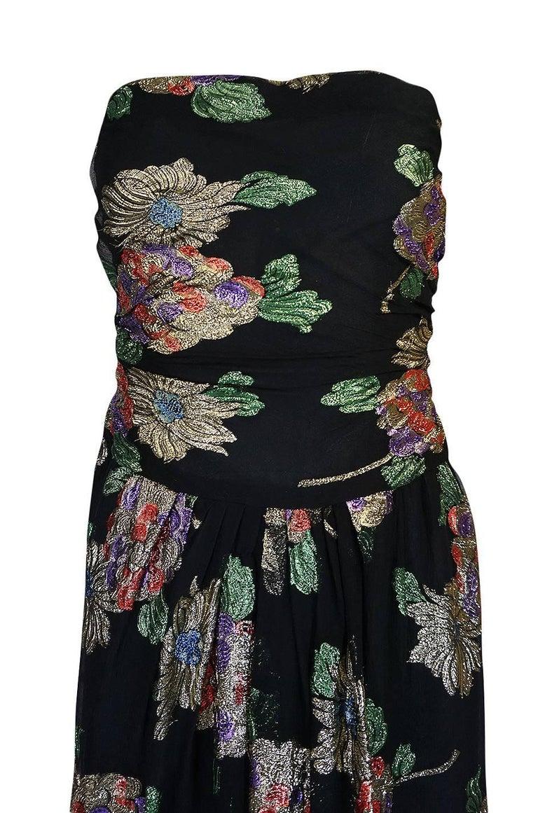1970s Oscar De La Renta Silk & Vivid Metallic Strapless Dress For Sale 1