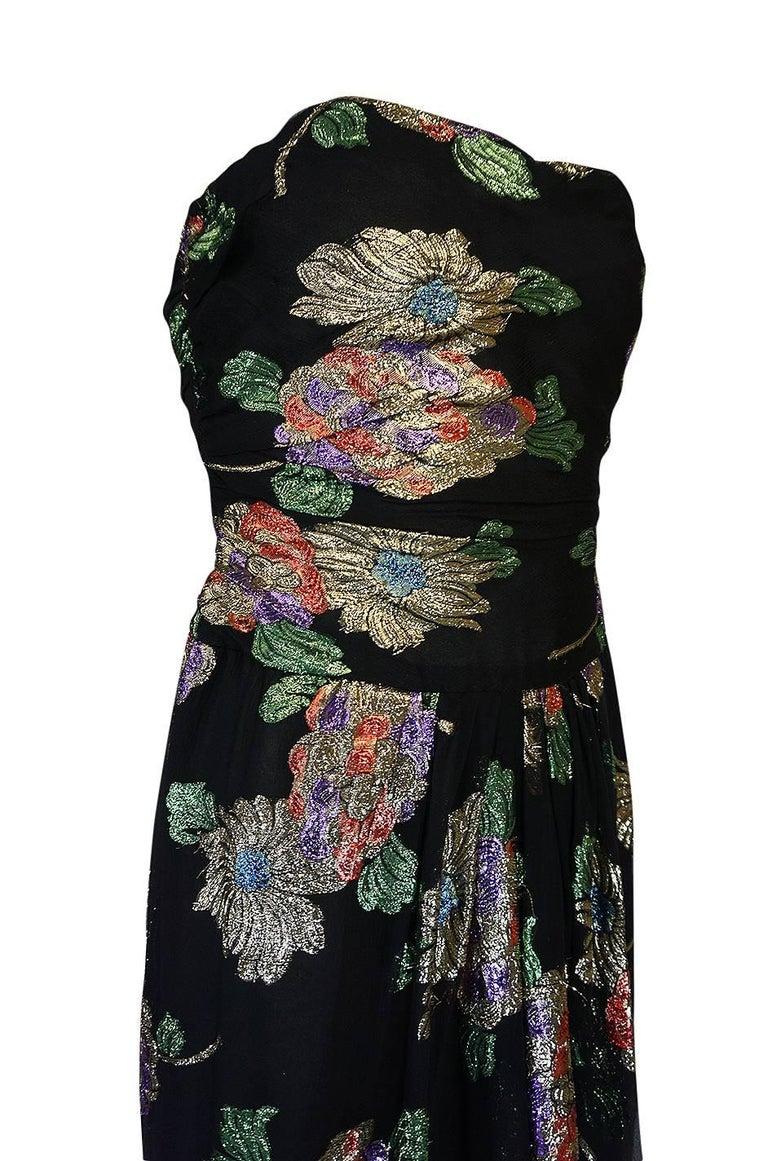 1970s Oscar De La Renta Silk & Vivid Metallic Strapless Dress For Sale 2