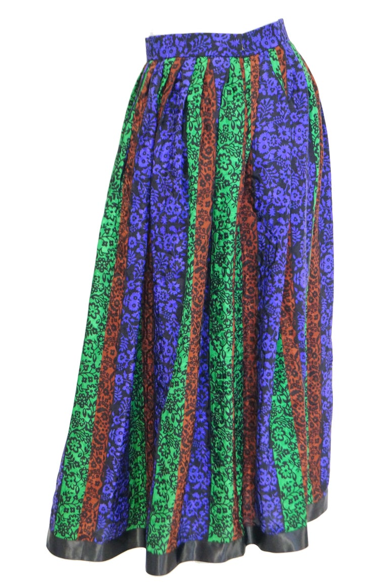 Purple 1970s Oscar de la Renta Silk Maxi Skirt in Blue, Green, Red Floral For Sale