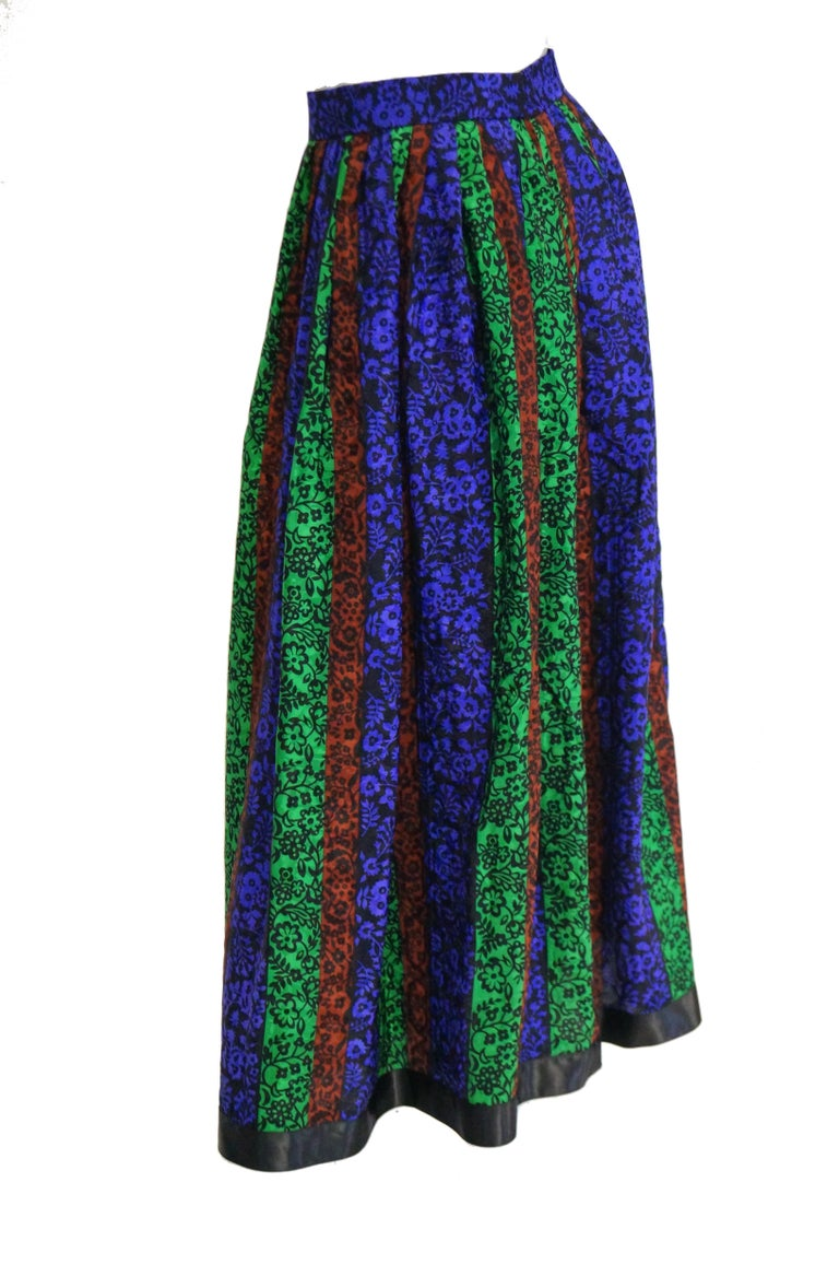 Women's 1970s Oscar de la Renta Silk Maxi Skirt in Blue, Green, Red Floral For Sale
