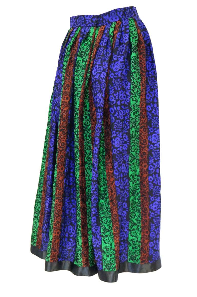 1970s Oscar de la Renta Silk Maxi Skirt in Blue, Green, Red Floral For Sale 1