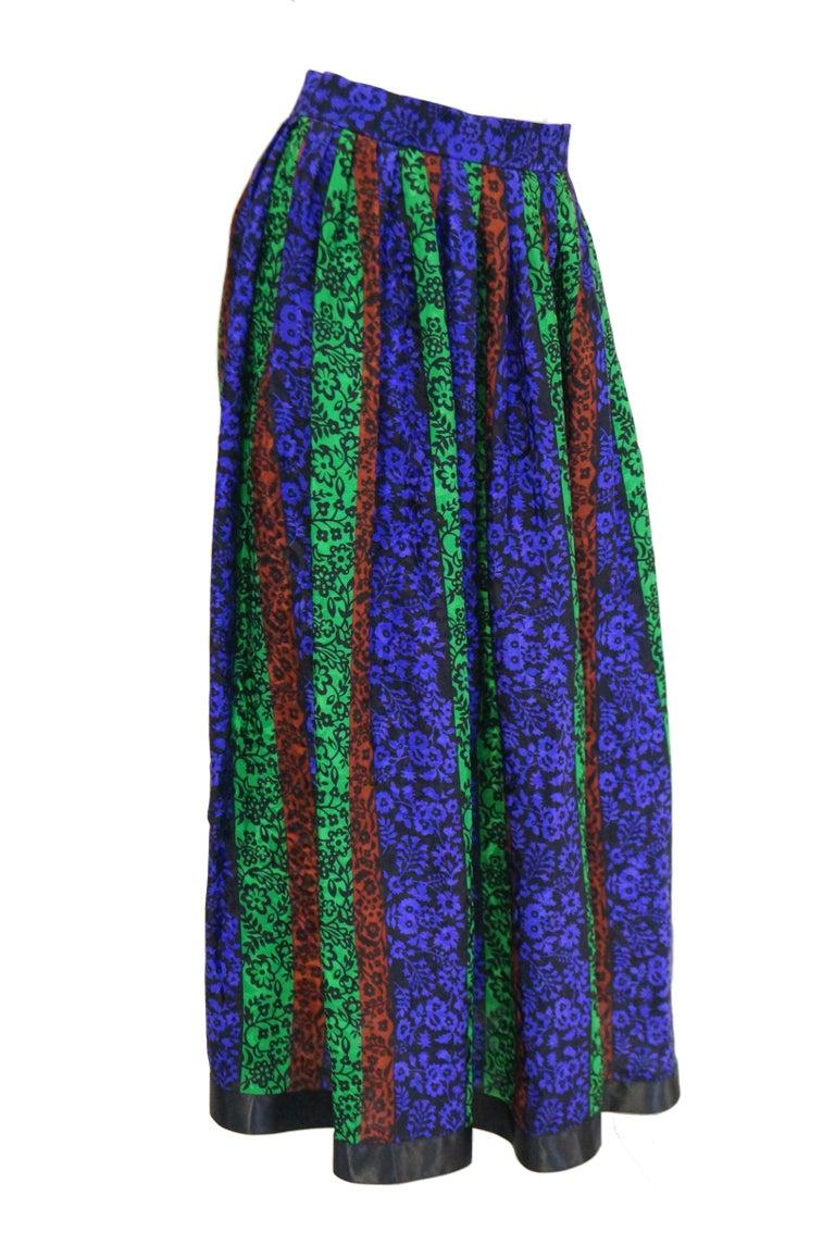 1970s Oscar de la Renta Silk Maxi Skirt in Blue, Green, Red Floral For Sale 2