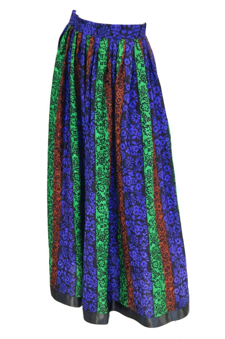 1970s Oscar de la Renta Silk Maxi Skirt in Blue, Green, Red Floral For Sale 3