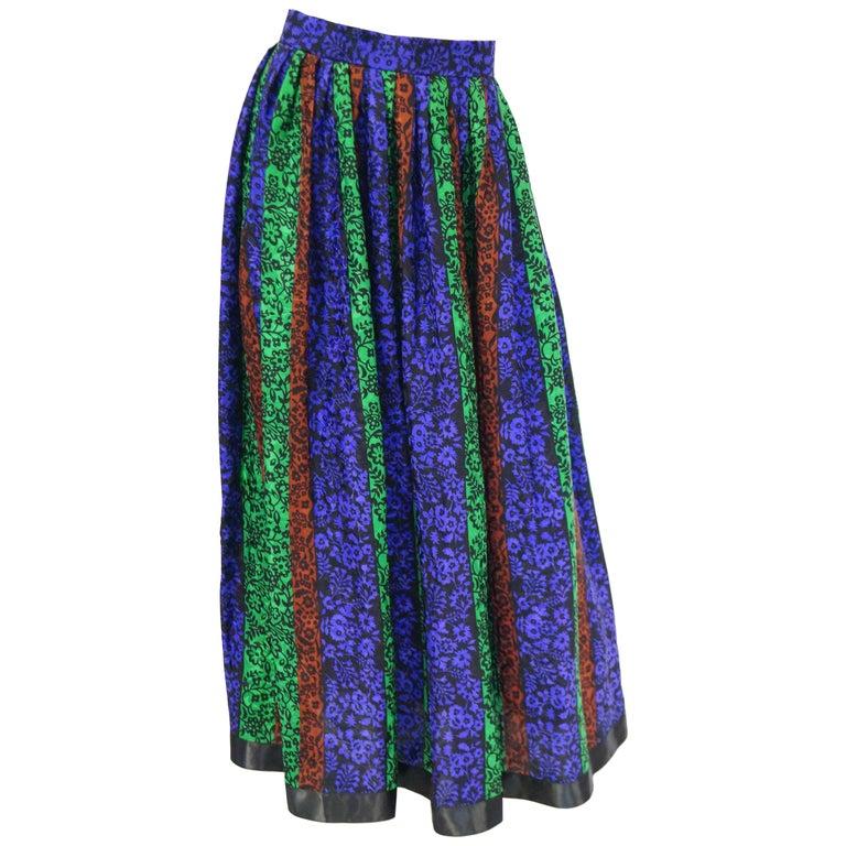 1970s Oscar de la Renta Silk Maxi Skirt in Blue, Green, Red Floral For Sale