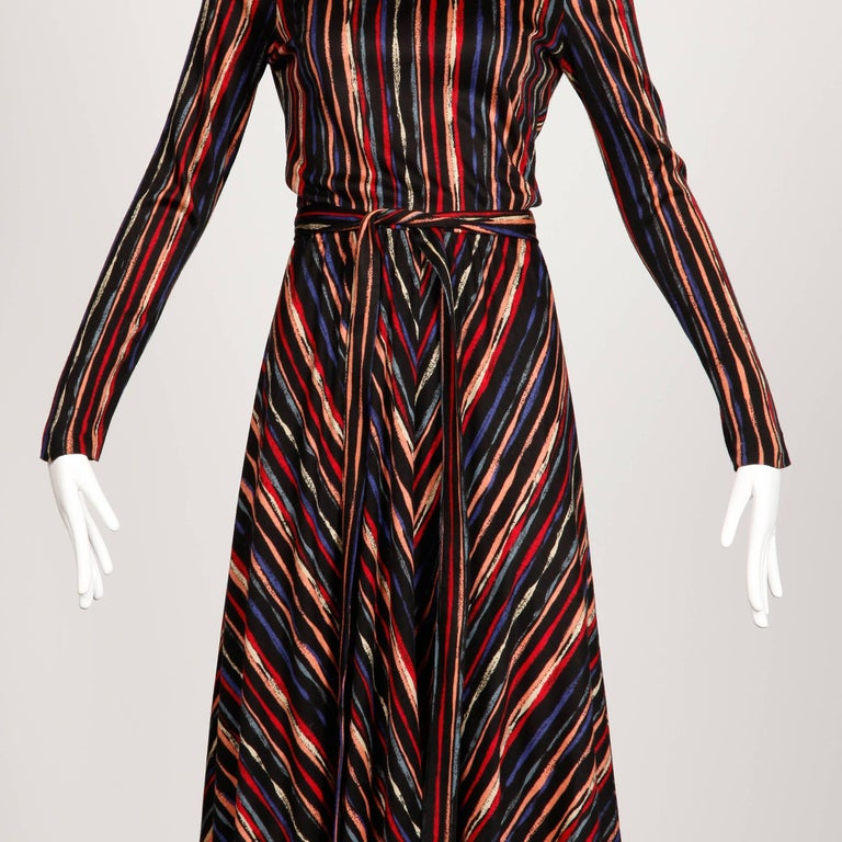 Women's 1970s Oscar de la Renta Vintage Jersey Knit Midi Dress with Matching Sash Belt For Sale