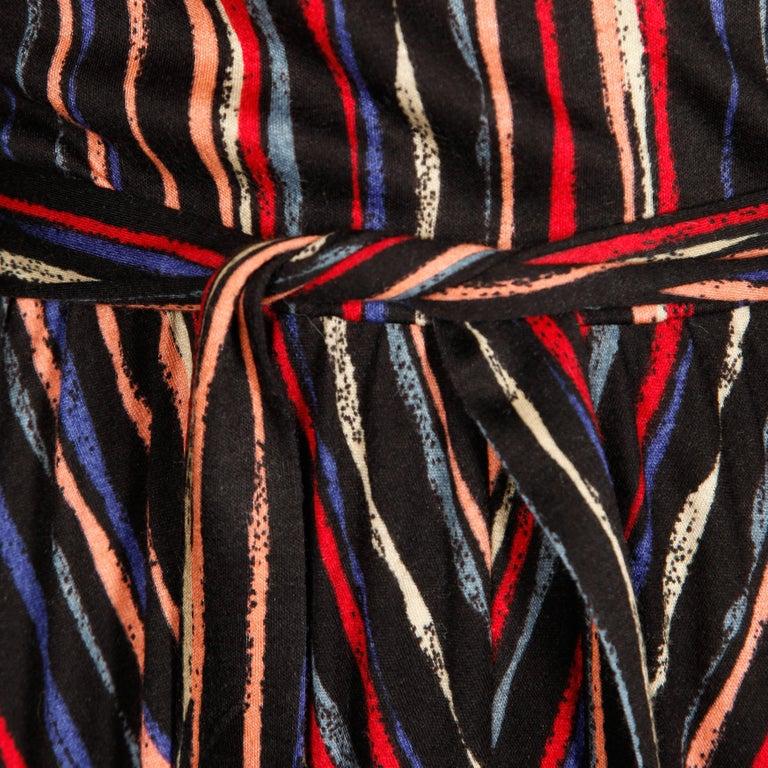 1970s Oscar de la Renta Vintage Jersey Knit Midi Dress with Matching Sash Belt For Sale 2