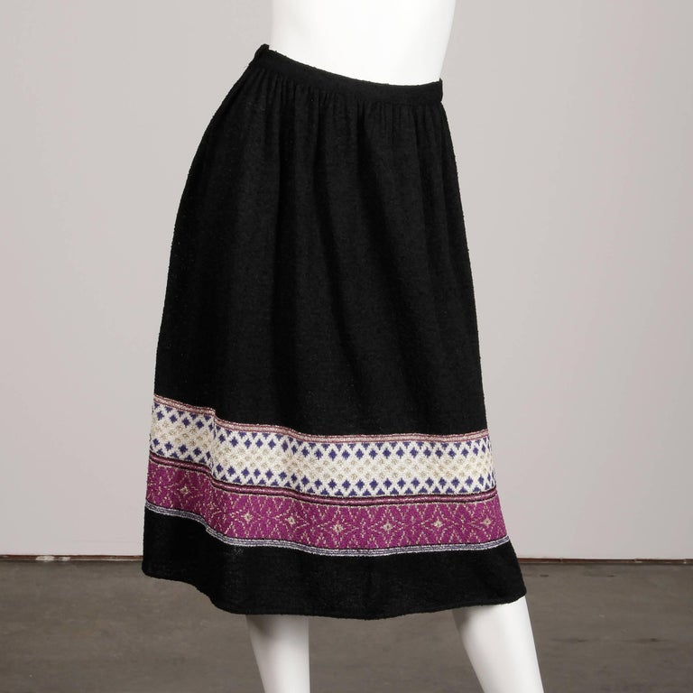 1970s Oscar de la Renta Vintage Knit Sweater Top, Skirt + Belt Dress Ensemble  For Sale 5