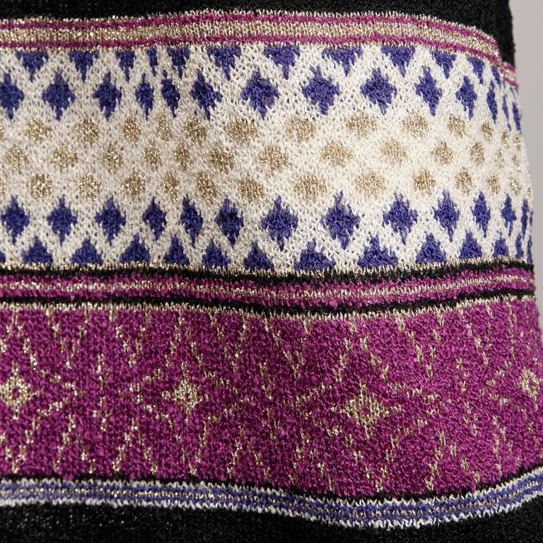 1970s Oscar de la Renta Vintage Knit Sweater Top, Skirt + Belt Dress Ensemble  In Excellent Condition For Sale In Sparks, NV