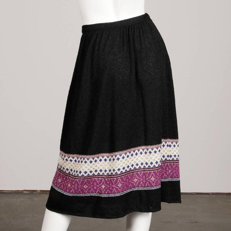1970s Oscar de la Renta Vintage Knit Sweater Top, Skirt + Belt Dress Ensemble  For Sale 4