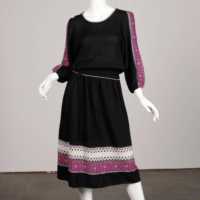 Black 1970s Oscar de la Renta Vintage Knit Sweater Top, Skirt + Belt Dress Ensemble  For Sale