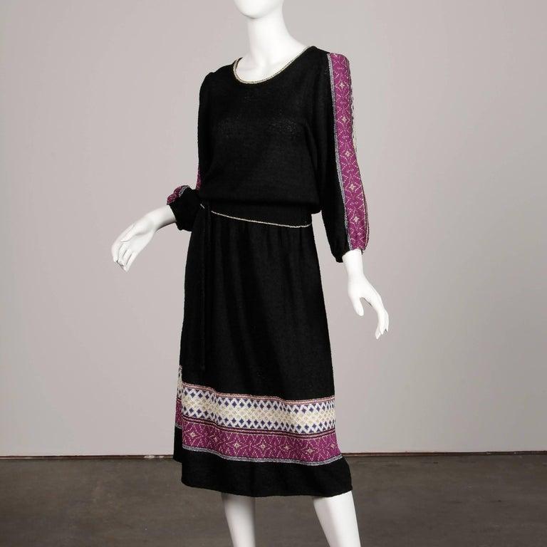 Women's 1970s Oscar de la Renta Vintage Knit Sweater Top, Skirt + Belt Dress Ensemble  For Sale