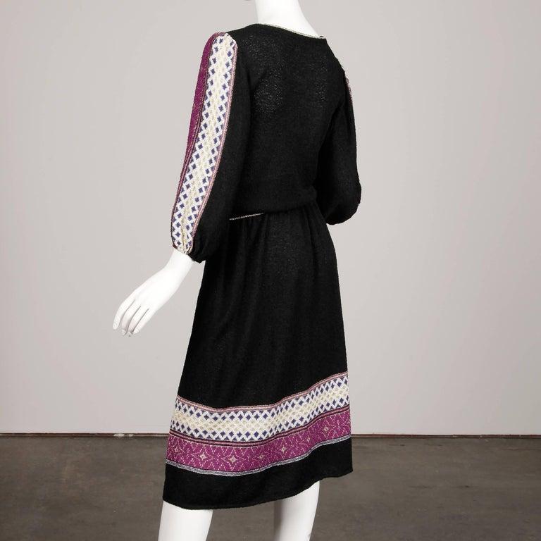 1970s Oscar de la Renta Vintage Knit Sweater Top, Skirt + Belt Dress Ensemble  For Sale 2