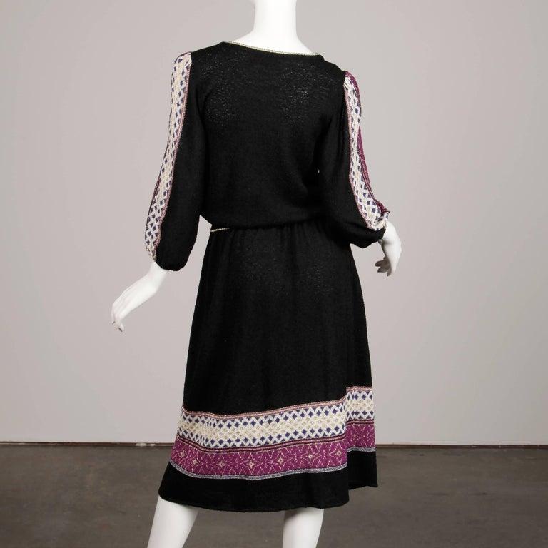 1970s Oscar de la Renta Vintage Knit Sweater Top, Skirt + Belt Dress Ensemble  For Sale 3