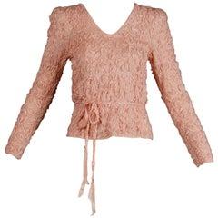1970s Oscar de la Renta Vintage Pale Blush Pink Knit Soutache Sweater Top/ Shirt
