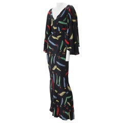 1970s Ossie Clark Celia Birtwell Printed Crepe Maxi Gown