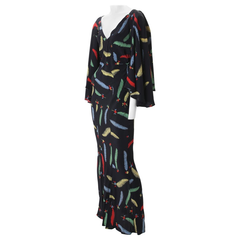 1970s Ossie Clark Celia Birtwell Printed Crepe Maxi Gown  For Sale