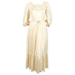 1970's OSSIE CLARK cream floral jacquard dress