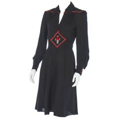 1970'S Ossie Clark Dress w/Embroidered Floral Motif
