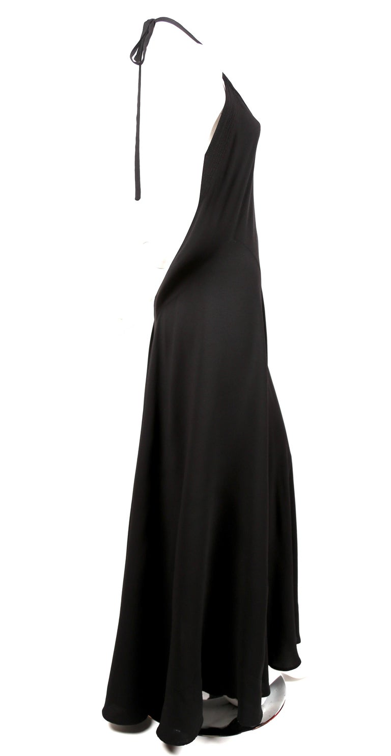 1970's OSSIE CLARK For QUORUM black bias-cut maxi gown with low back In Good Condition For Sale In San Fransisco, CA