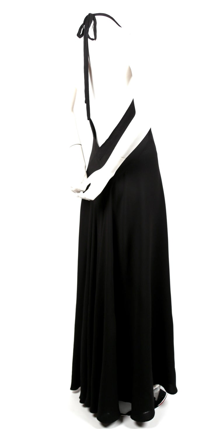 Women's or Men's 1970's OSSIE CLARK For QUORUM black bias-cut maxi gown with low back For Sale