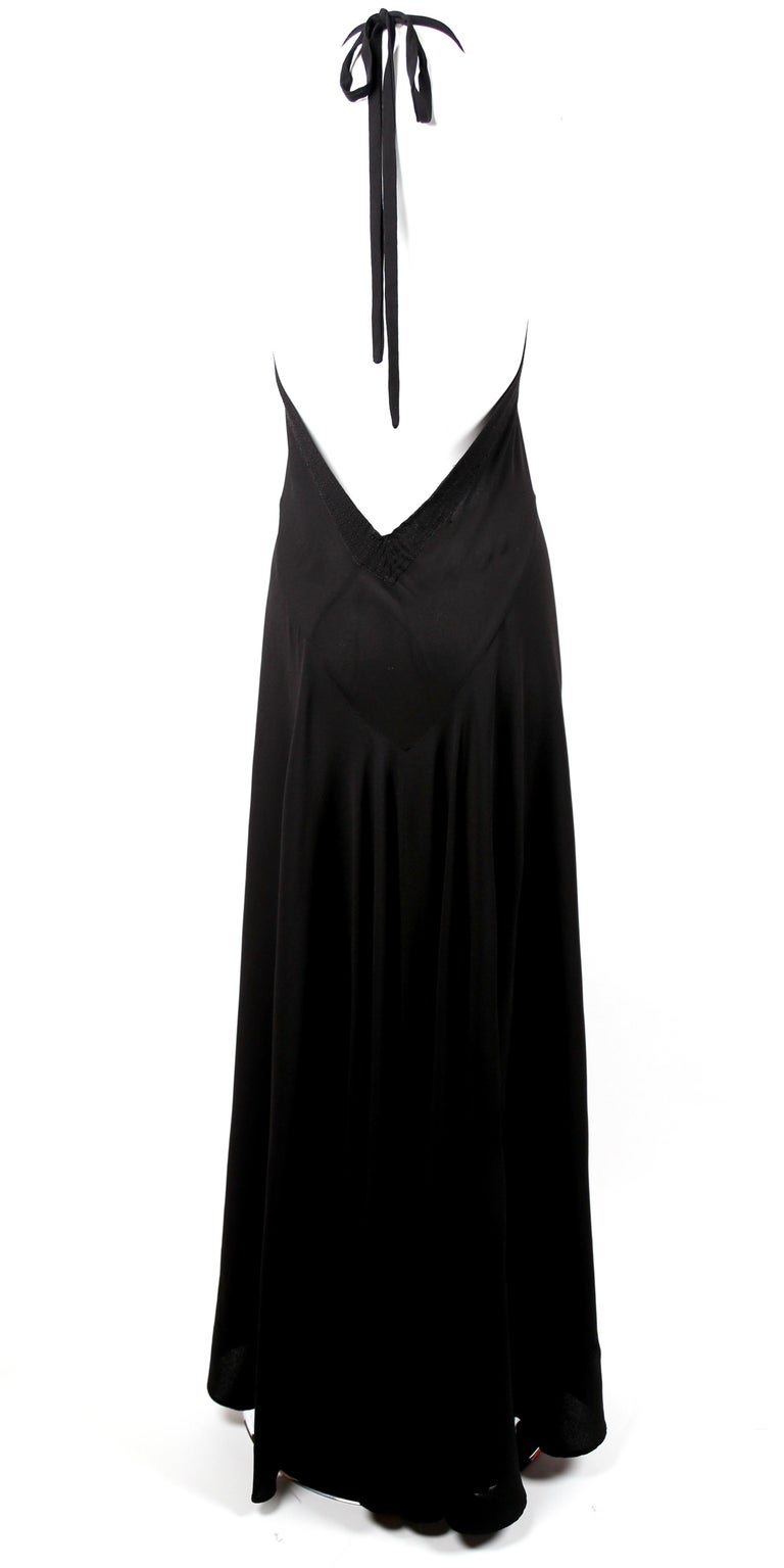 1970's OSSIE CLARK For QUORUM black bias-cut maxi gown with low back For Sale 1