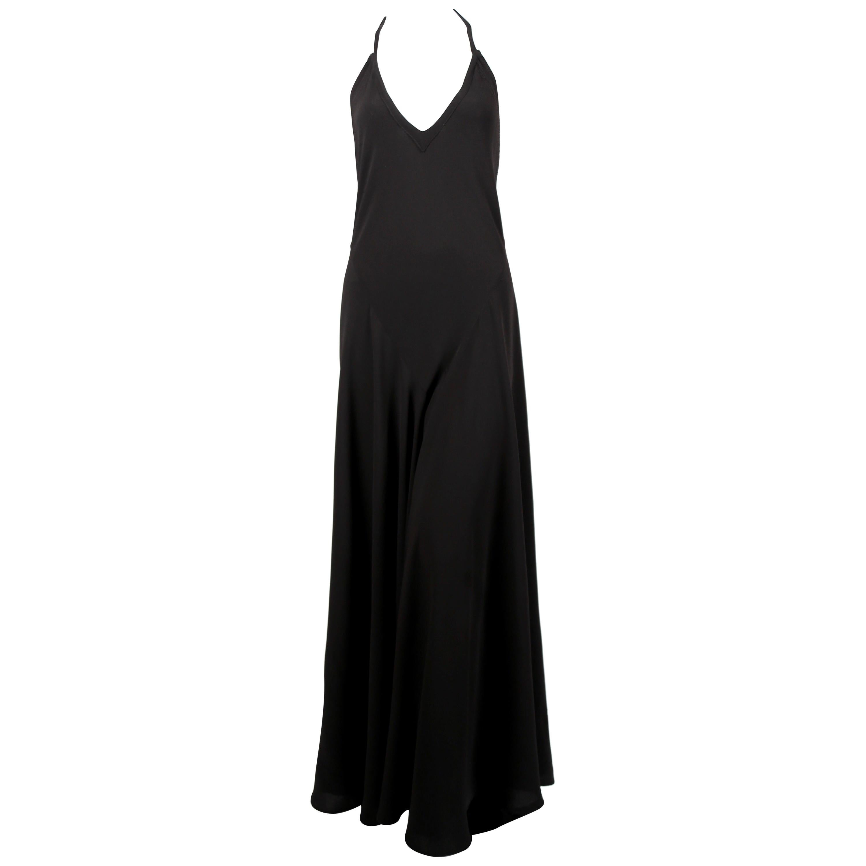 1970's OSSIE CLARK For QUORUM black bias-cut maxi gown with low back