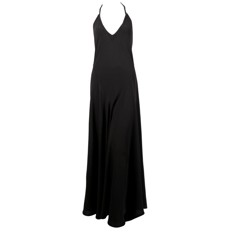 1970's OSSIE CLARK For QUORUM black bias-cut maxi gown with low back For Sale