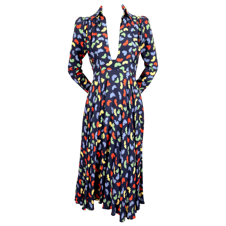 1970's OSSIE CLARK for QUORUM Celia Birtwell fan print plunging neckline dress