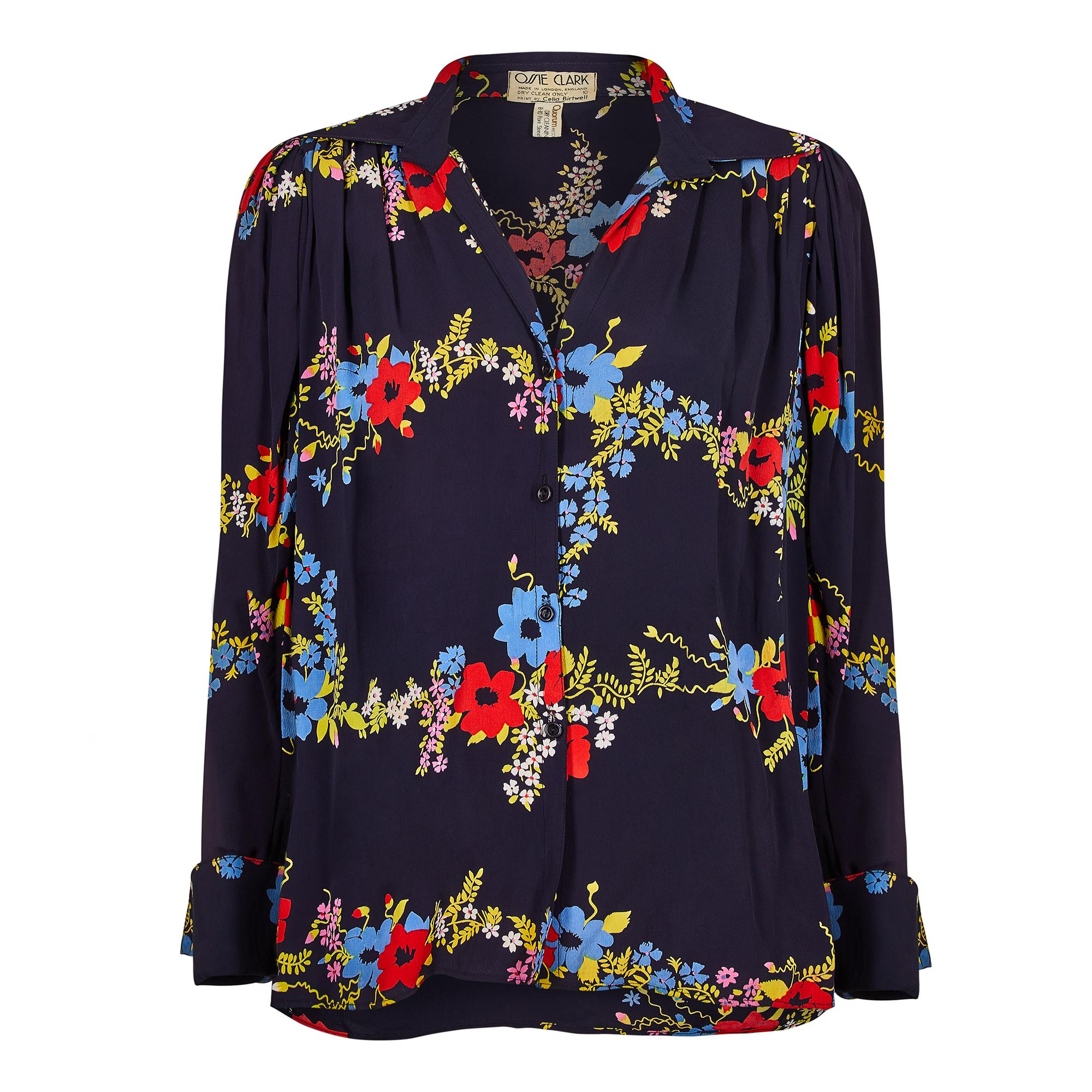 1970s Ossie Clark Navy Floral Print Blouse with Celia Birtwell Print