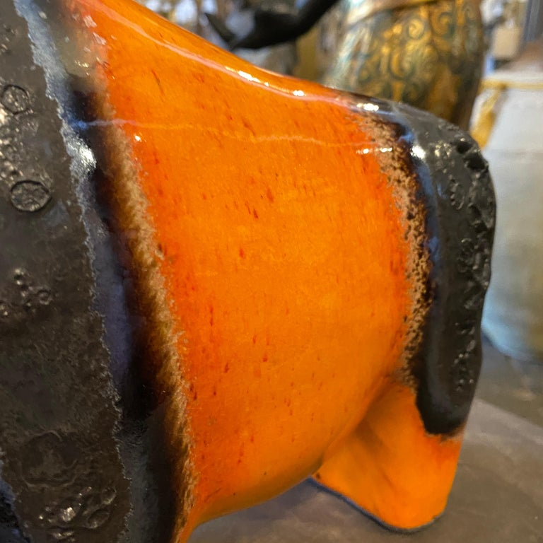 Hand-Crafted 1970s Otto Keramik Orange and Black Ceramic Buffalo