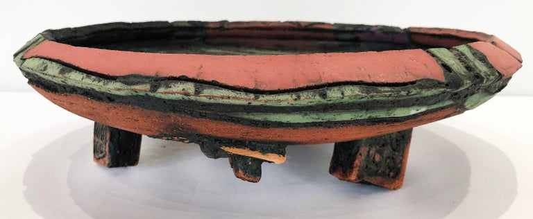 1970s overscale textured studio pottery bowl sculpture  Offered for sale is 1970s overscale heavily textured studio pottery footed bowl sculpture. This hand-built sculpture shows great details all over, even underneath incorporating interesting