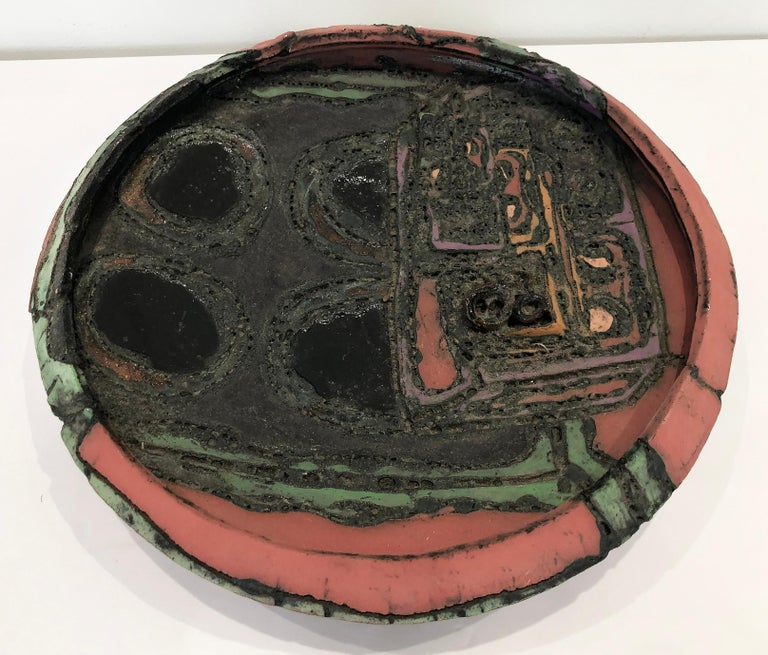 Mid-Century Modern 1970s Overscale Textured Studio Pottery Bowl Sculpture For Sale