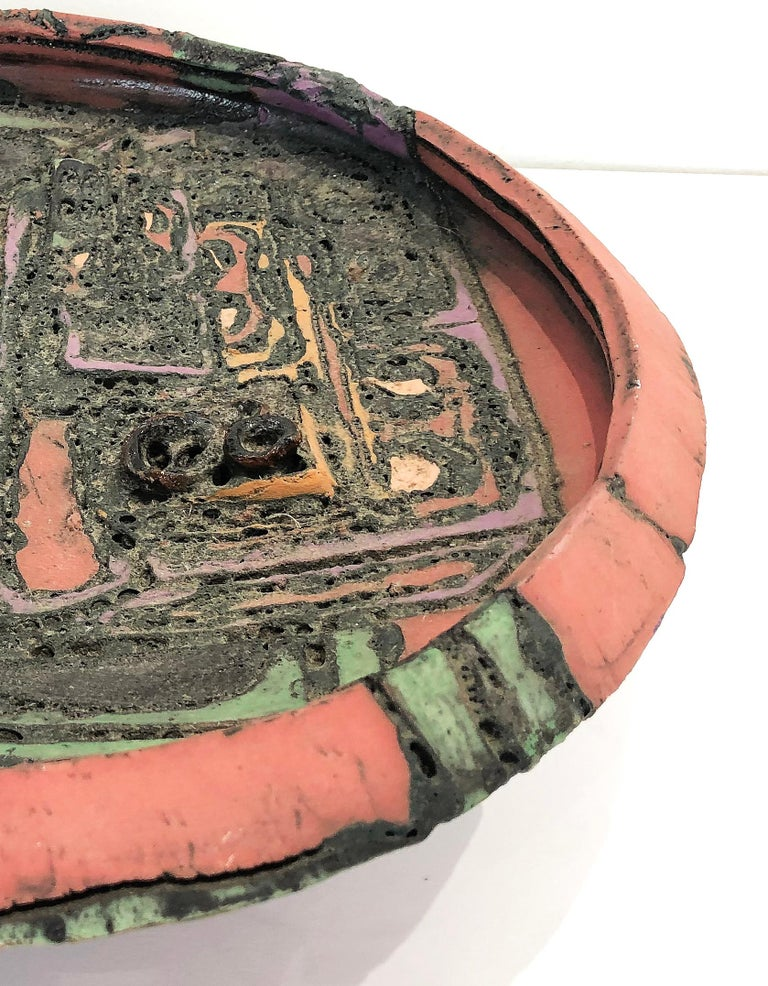 Hand-Crafted 1970s Overscale Textured Studio Pottery Bowl Sculpture For Sale