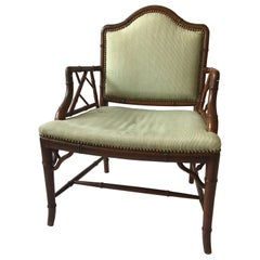 1970s Oversized 'Very Wide' Faux Bamboo Armchair