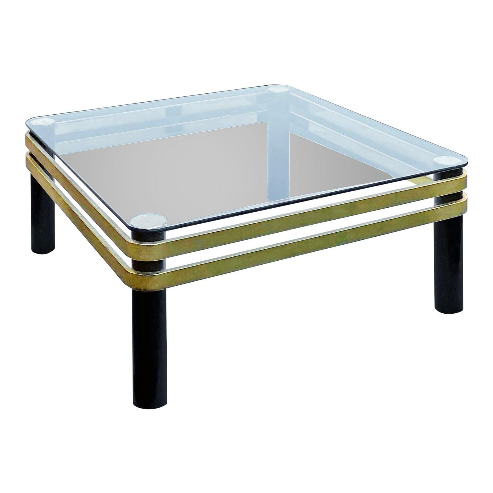 1970s Pace Collection Brass and Black Lacquer Coffee Table